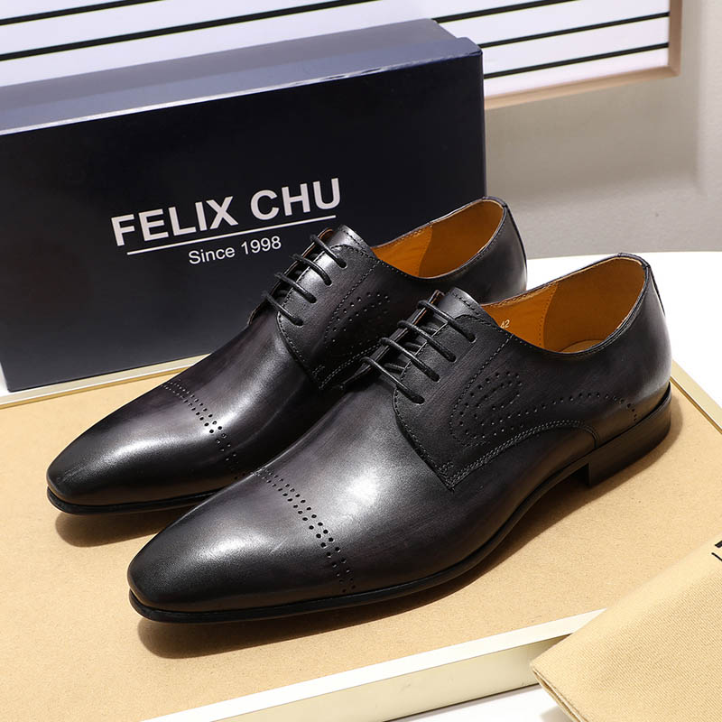 Felix Chu Mens Apron Toe Derby Shoe Brown Green Genuine Leather Lace Up Oxford Mens Dress Shoes Casual Business Man Shoes Shoes
