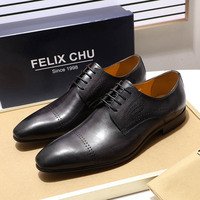 FELIX CHU Gray Brown Men's Dress Shoes Genuine Leather Cap Toe Brogue Derby Shoes Lace Up Office Business Work Formal Shoes Men
