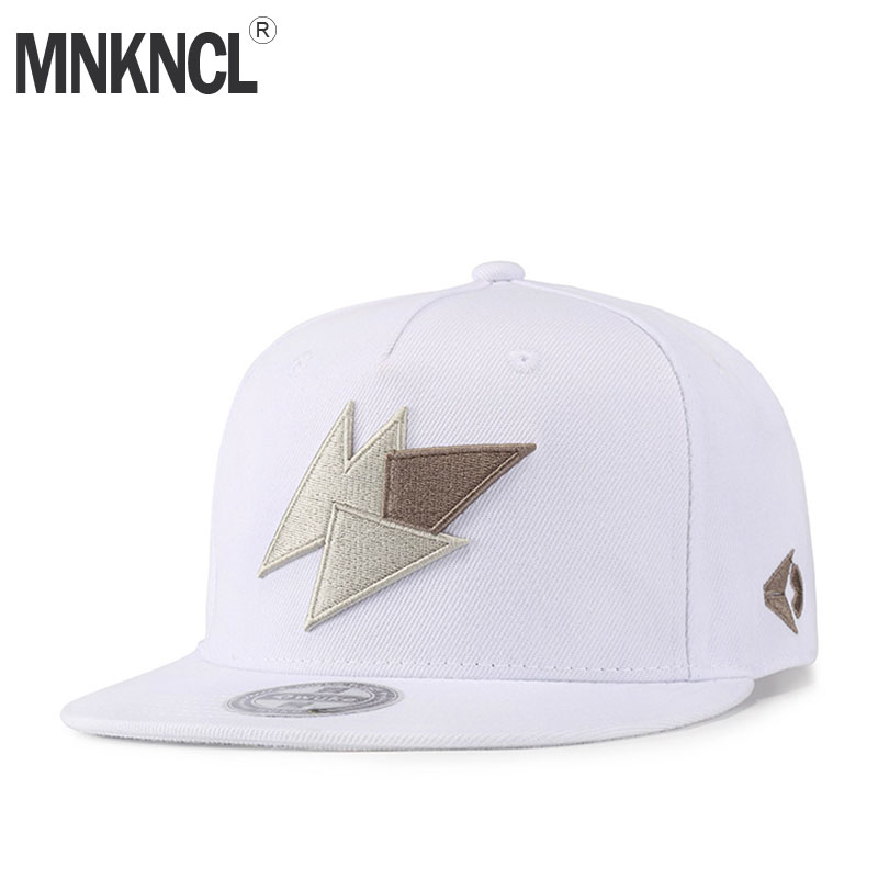 MNKNCL High Quality Unisex Cotton Snapback Cap Lightning Embroidery Mens Flat Brim Baseball Cap Fashion Hip Hop Hats mnkncl high quality camouflage skull embroidery baseball cap 100