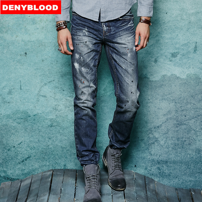100% Cotton Denim Mens Jeans 2016 Spring New Arrival Slim Straight Distressed Jeans Ripped Destroyed Casual Pants 151104-2