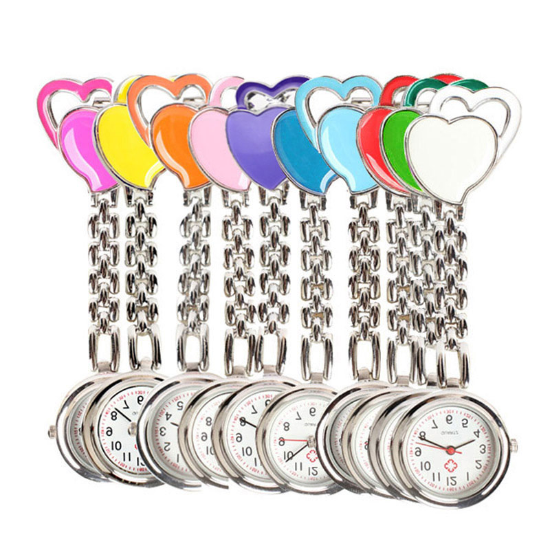 Hot Sweet Heart Chest Pocket Watch Nurse Table Quartz Alloy Watch Chain LXH