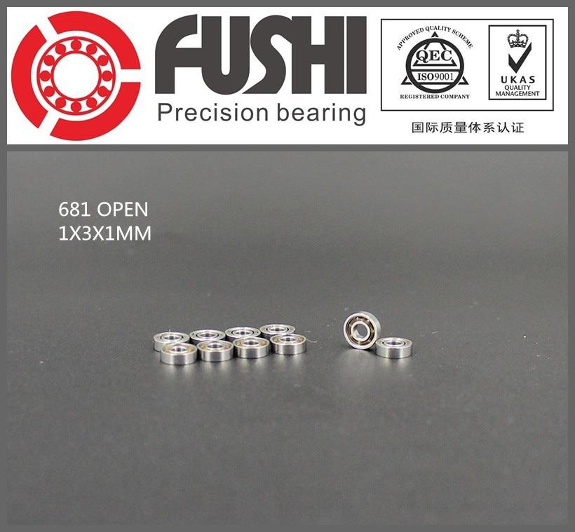 681 OPEN Bearing ABEC-1 10PCS 1x3x1 mm Miniature 681 Ball Bearings 1pcs 71901 71901cd p4 7901 12x24x6 mochu thin walled miniature angular contact bearings speed spindle bearings cnc abec 7