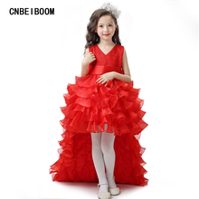 Flower Girl Dresses Red Chiffon Tailing Pageant Girl Summer Children 2-14 Years Weddings Party Birthday Tutu Dress with Big Bow