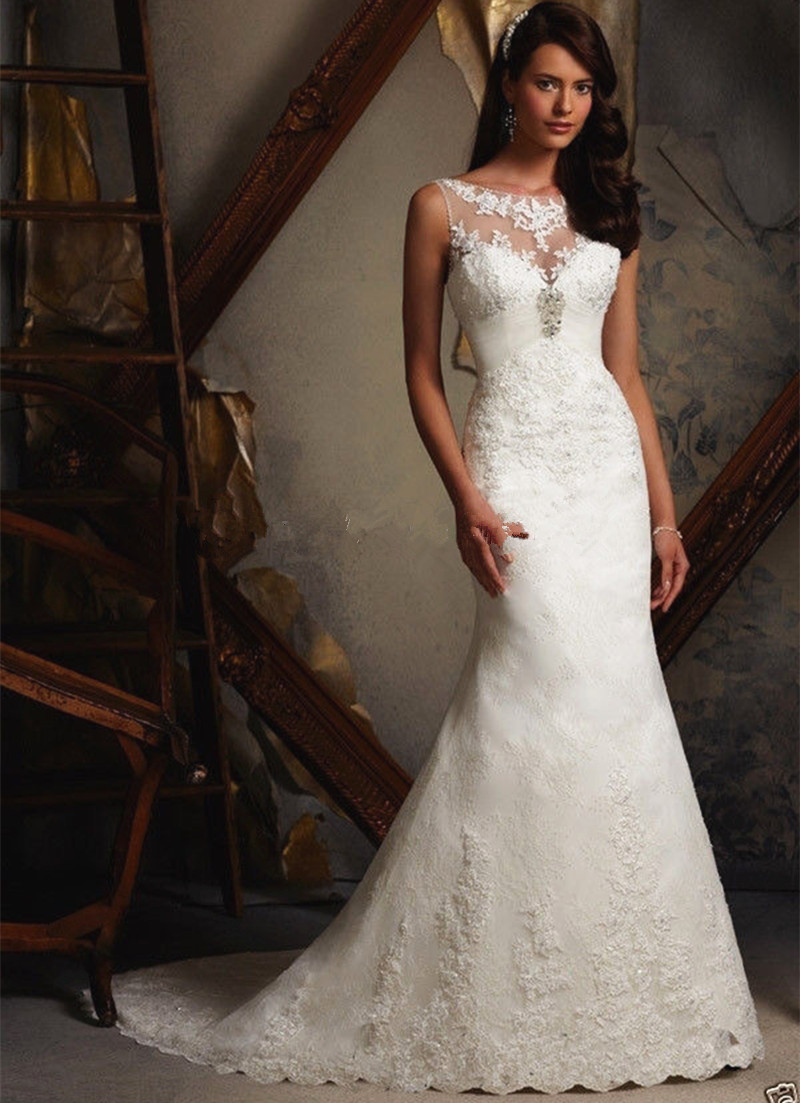 Graceful Scoop Neck Sheath Bridal Gown Sleeveless With Chapel Train Lace Up Vestido De Noiva 2018 Mother Of The Bride Dresses