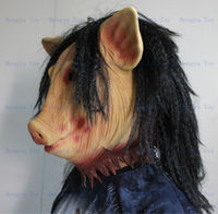 Factory Direct Sale Adult Size Deluxe Party High Quality Halloween Saw Pig Mask Latex Pig Mask