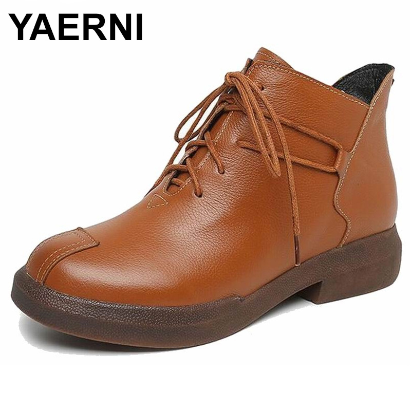 YAERNI New women Genuine Leather Boots Vintage Style Flat Booties Soft Cowhide Women's Shoes side Zip Ankle Boots zapatos mujer maylosa 2017 vintage style genuine leather women boots flat booties soft cowhide women s shoes zip ankle boots warm winter shoe