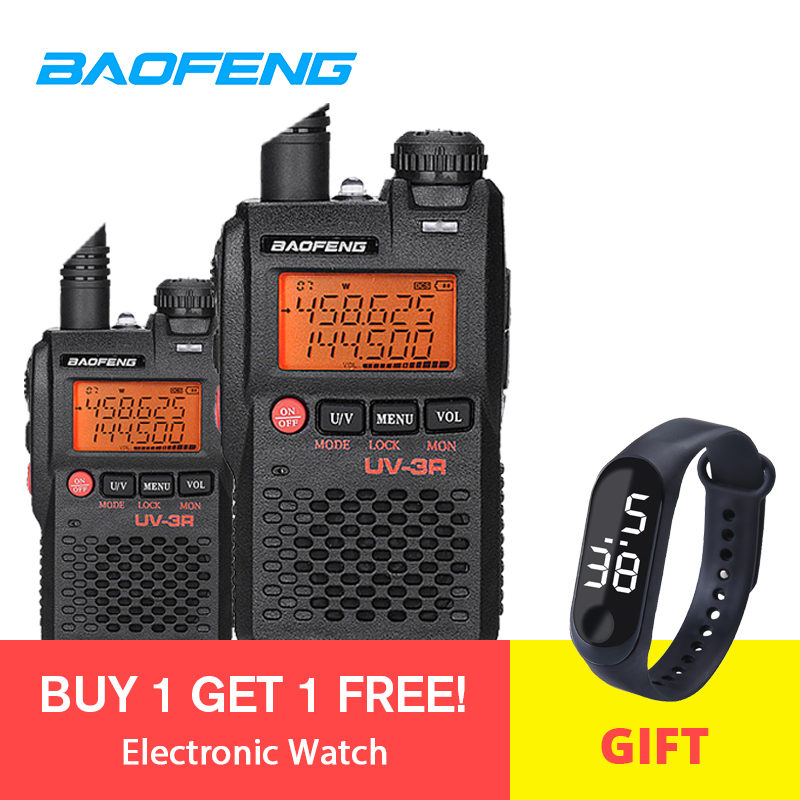 2pcs Baofeng Walkie Talkie UV-3R 136-174/ <font><b>400</b></font>-470MHz Portable CB Ham <font><b>Radio</b></font> UV 3R Plus Dual Band Ham <font><b>Radio</b></font> Motorcycle Intercom image