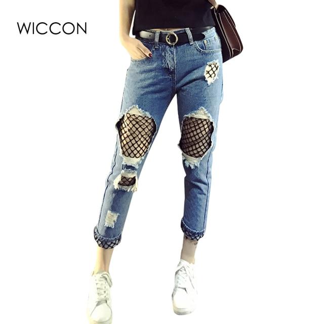 2018 Calcetines costura jeans Mujer Net empalmados lavado pantalones ...