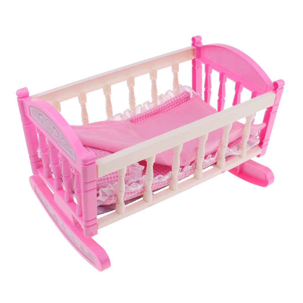 29 20cm Cradle Baby Doll Bed For 9 11 Reborn Girl Doll Kids Pretend Play Toy Dollhouse Furniture Decor