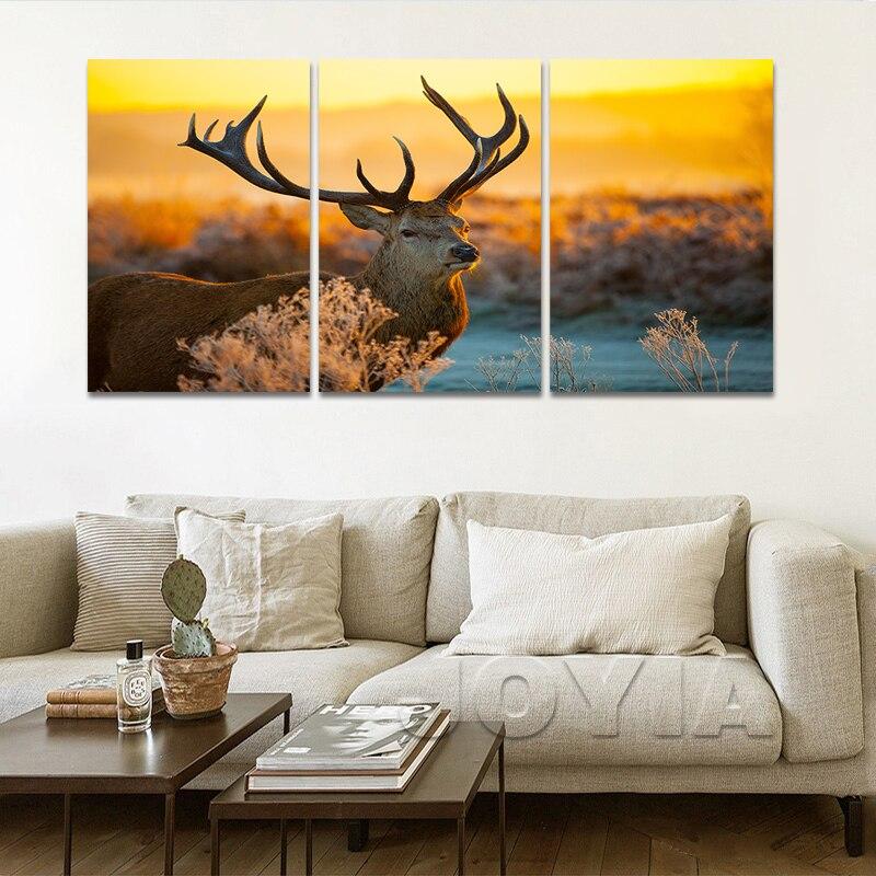 Wildlife Canvas Art Print Red Deer In Morning Sun Art Painting Elk Antler Animal Nature Prints