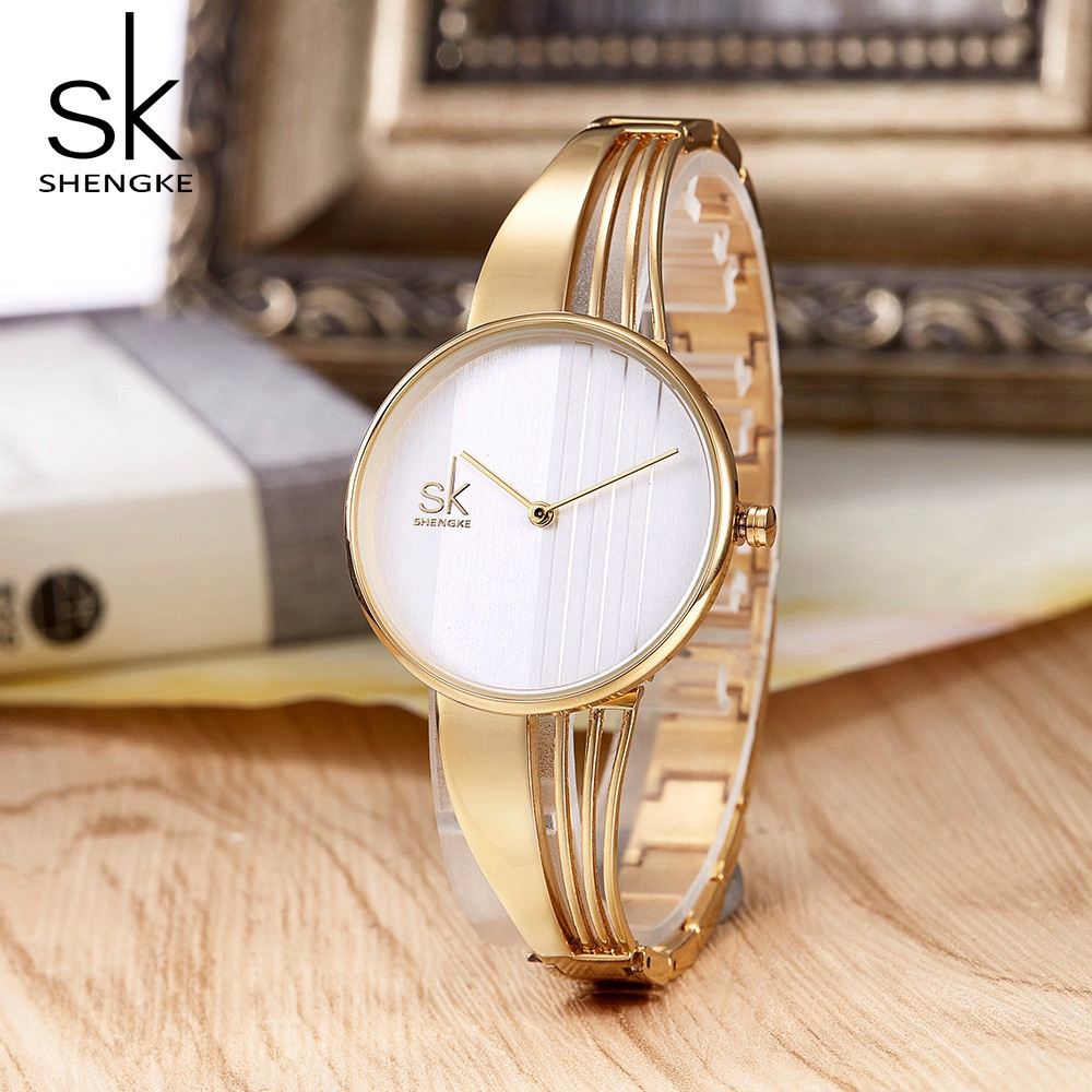 Shengke Fashion Gold-plated Women Watches Charm Luxury Ladies Wristwatch Bracelet Quartz Saat Montre Femme Relogio Feminino