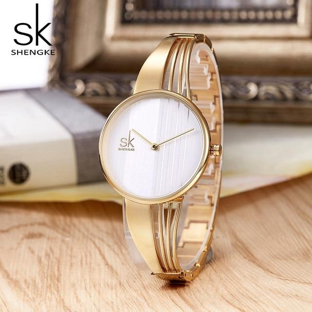 Shengke Fashion Gold-plated Women Watches Charm Luxury Ladies Wristwatch Bracele
