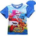 Ropa de los muchachos Niños de la camiseta de algodón de manga corta camiseta con Superwings historieta del verano ropa de los muchachos nuevo 2017