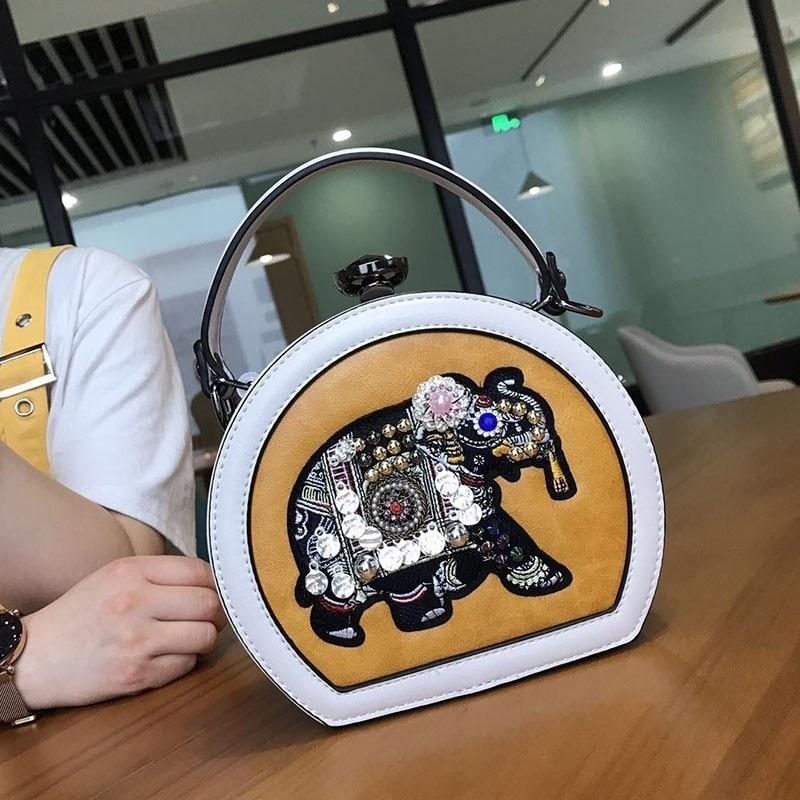 ZURICHOUSE Ladies Handbags Real Leather Clutch Luxury Diamonds Elephant Embroidery Design Chain Shoulder Messenger Bags Woman