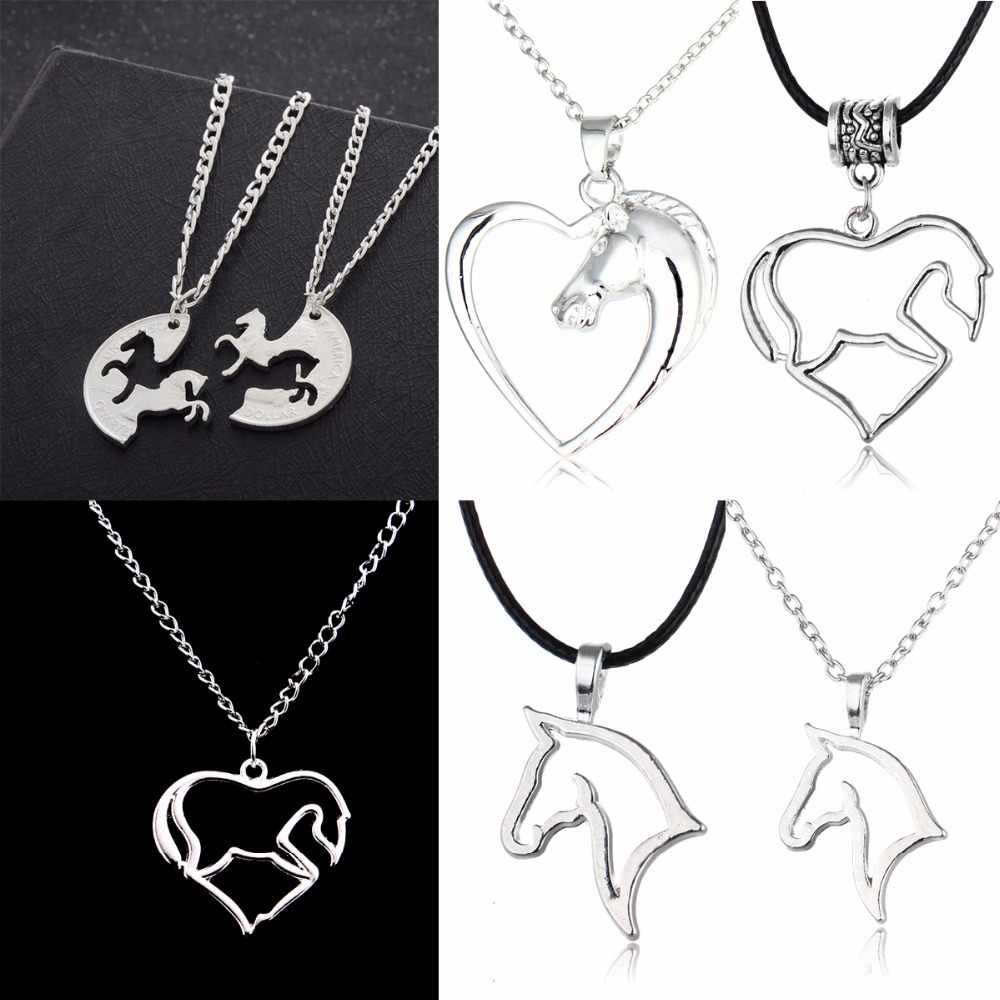 Fashion Animals Horse Necklaces Horse Jewelry Love Heart Pendant Leather Chain Necklace Women Mom Gifts Family Friends Presents