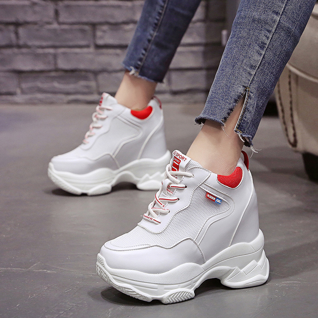 2020 White Trendy Shoes Women High Top Sneakers Women Platform Ankle Boots Basket Femme Chaussures Femmes