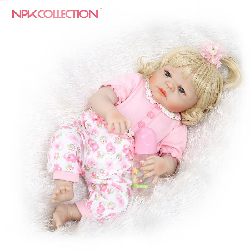 NPKCOLLECTION reborn doll with soft real gentle touch full vinly baby girl doll new design blond gift for children Birthday pink wool coat doll clothes with belt for 18 american girl doll