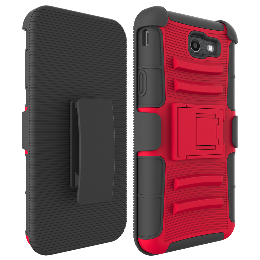 For SAM J7 2017 Case Holster, Two Layer Hybrid Armor Hard Cover with Built In Kickstand For Samsung Galaxy J7 2017 ...