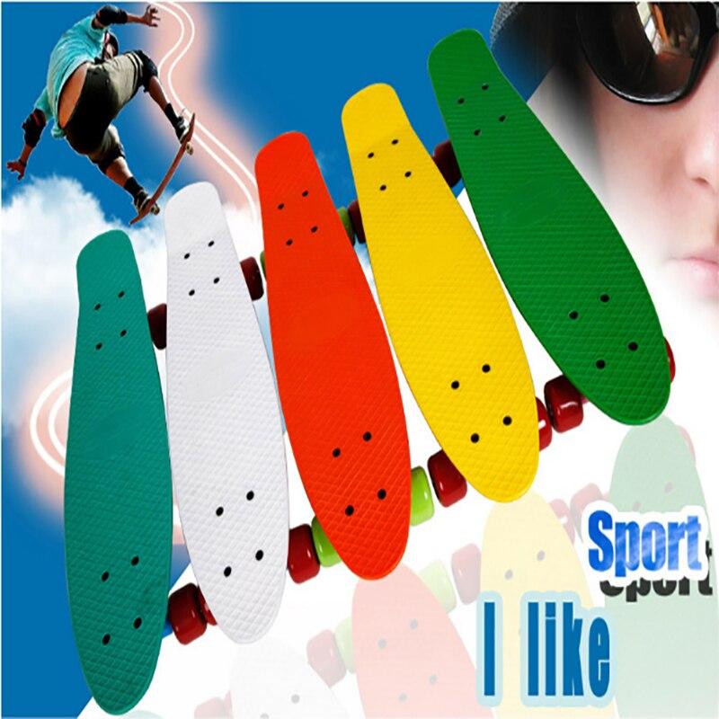 Hot 3 couleur Pastel quatre roues 22 pouces Mini Cruiser Skateboard rue longue planche à roulettes Sports de plein air pour adultes ou enfants
