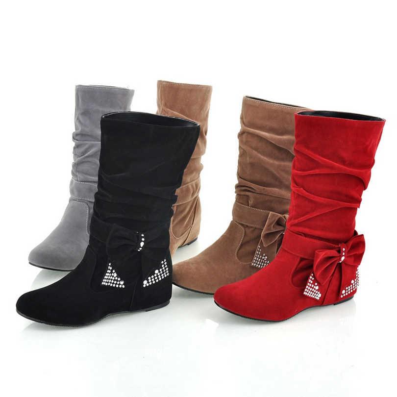 BONJOMARISA tamaño grande media rodilla botas de nieve mujer strass Bowtie Sexy zapatos de invierno con cuña oculta zapatos de invierno botas HB144