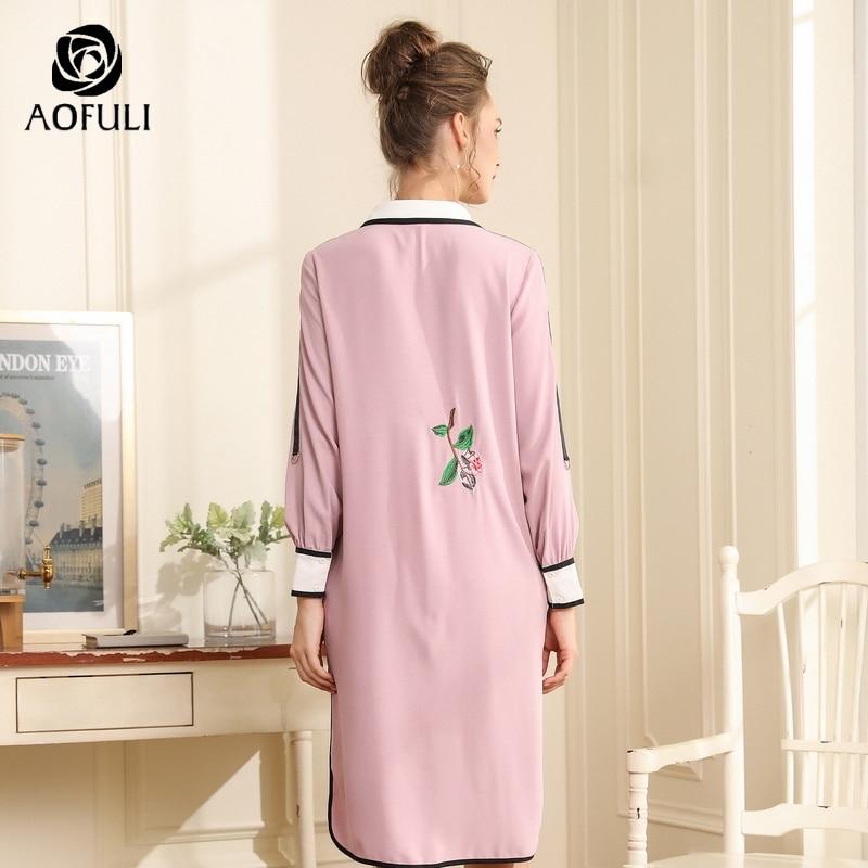 Aofuli 디자이너 꽃 자수 드레스 활주로 스타일 가을 패션 높은 낮은 파티 드레스 긴 소매 l xxxl 4xl 5xl a3692-에서드레스부터 여성 의류 의  그룹 3