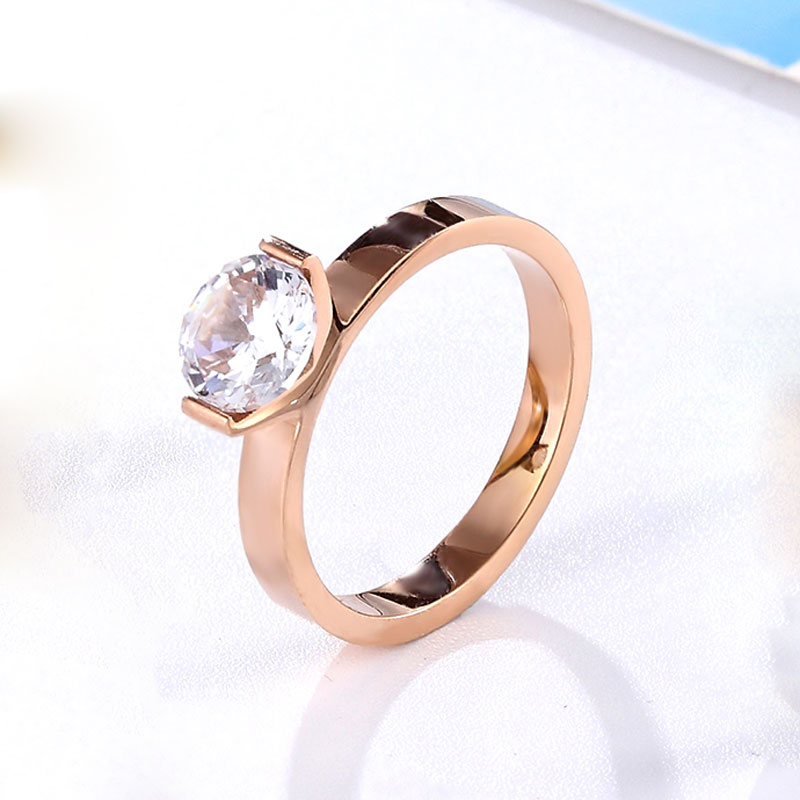 Hot 1 Carat Shiny Crystal Ring For Wedding Titanium Steel Top Quality Gold Color Jewelry Love Gift Woman Ring Wholesale 3