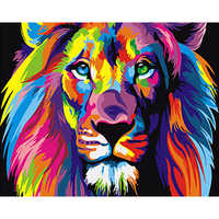 Painting By Numbers DIY Dropshipping 40x50 50x65cm Colored lion head Animal Canvas Wedding Decoration Art picture Gift