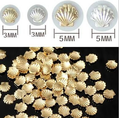 ERTRTE Sale Sea styles 100pcs/pack Mixed 3mm 5mm 3d Gold Silver Shell Design Nail Art DIY Charm Metal Studs Nail Art Decorations mixed ring pack 10pcs