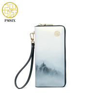 New Fashion Leather Women Wallet Vintage Landscape Printed White Wallets Ladies' Long Clutches With Coin Purse Card Holder