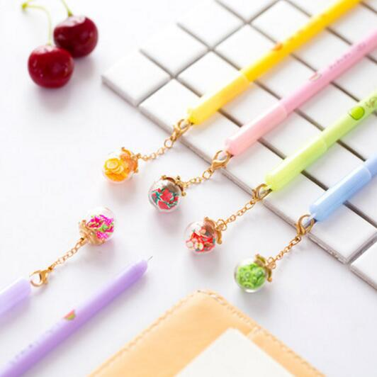 5 pcs/lot Creative Noctilucent Fruit Wishing Bottle Pendant Gel Pen Ink Pen Promotional Gift Stationery School & Office Supply new design stitch pendant gel pen ink pen promotional gift stationery school