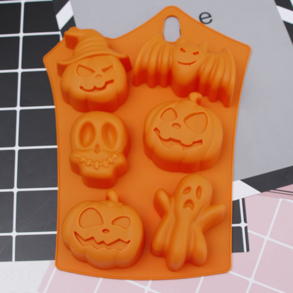 Halloween Holiday Style Silicone Cake Mold 6 Cavities Pumpkin Ghost Bat Shape Cookies Chocolate Molds DIY Cake Baking Tools image