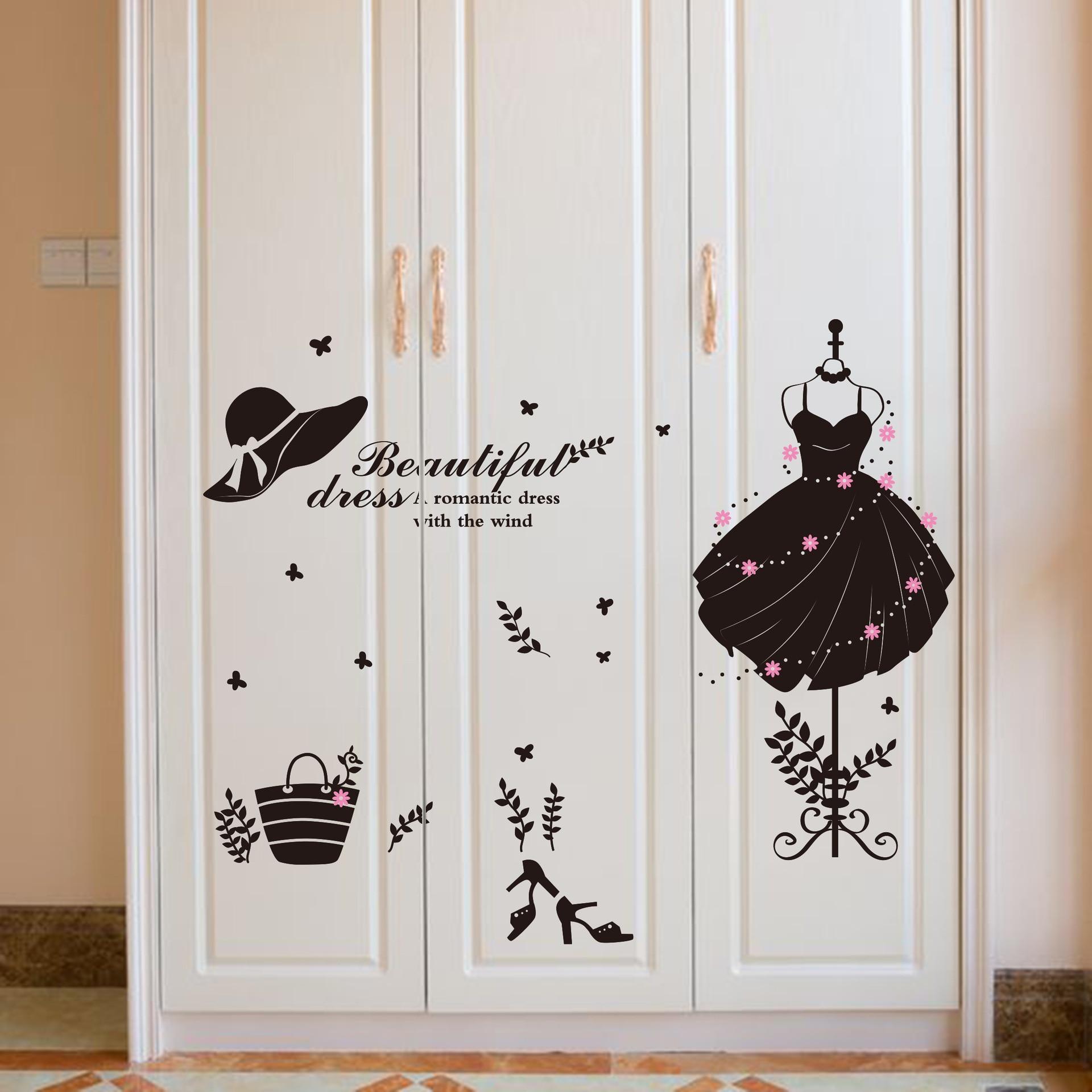 US $3.95 |Vestito FAI DA TE Decorativo Adesivo Da Parete In Vinile Adesivi  Murali Mobili Soggiorno camera Da Letto Vintage Home Decor Wall Decals-in  ...