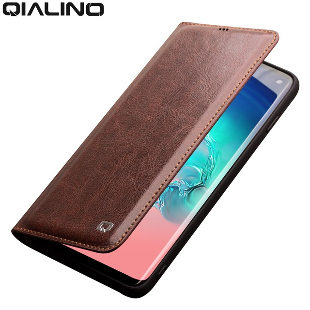 QIALINO Echt Lederen Case voor Samsung Galaxy S10 Bag Kaartsleuf Ultra Dunne Flip Cover voor Galaxy S10 + Plus voor 5.8/6.2 inch
