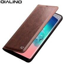 QIALINO جلد طبيعي حقيبة لهاتف سامسونج غالاكسي S10 حقيبة فتحة للبطاقات رقيقة جدا فليب غطاء ل غالاكسي S10 + زائد ل 5.8/ 6.2 بوصة