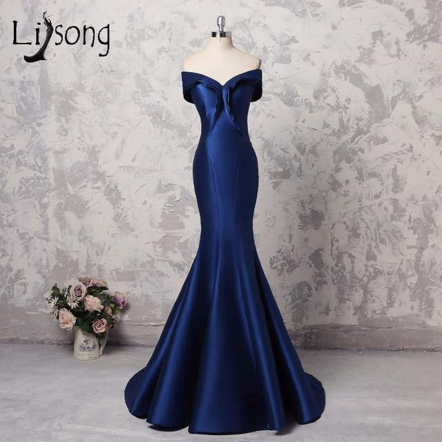 ef3eabf5916 Online Shop Abiye Simple Royal Blue Mermaid Evening Dresses Formal Long Elegant  V-neck Off Shoulder Evening Gowns Plus Size Prom Gowns