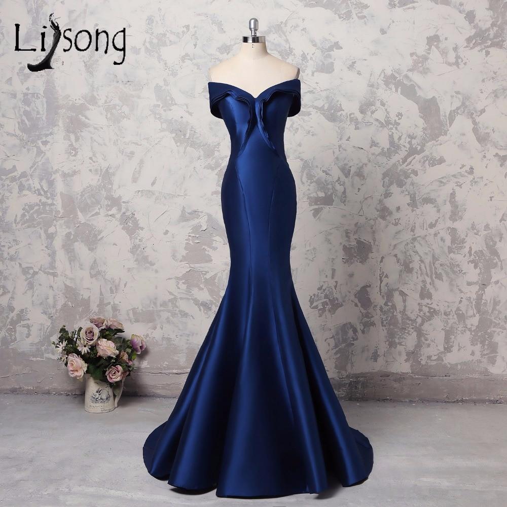 Abiye Simple Royal Blue Mermaid   Evening     Dresses   Formal Long Elegant V-neck Off Shoulder   Evening   Gowns Plus Size Prom Gowns