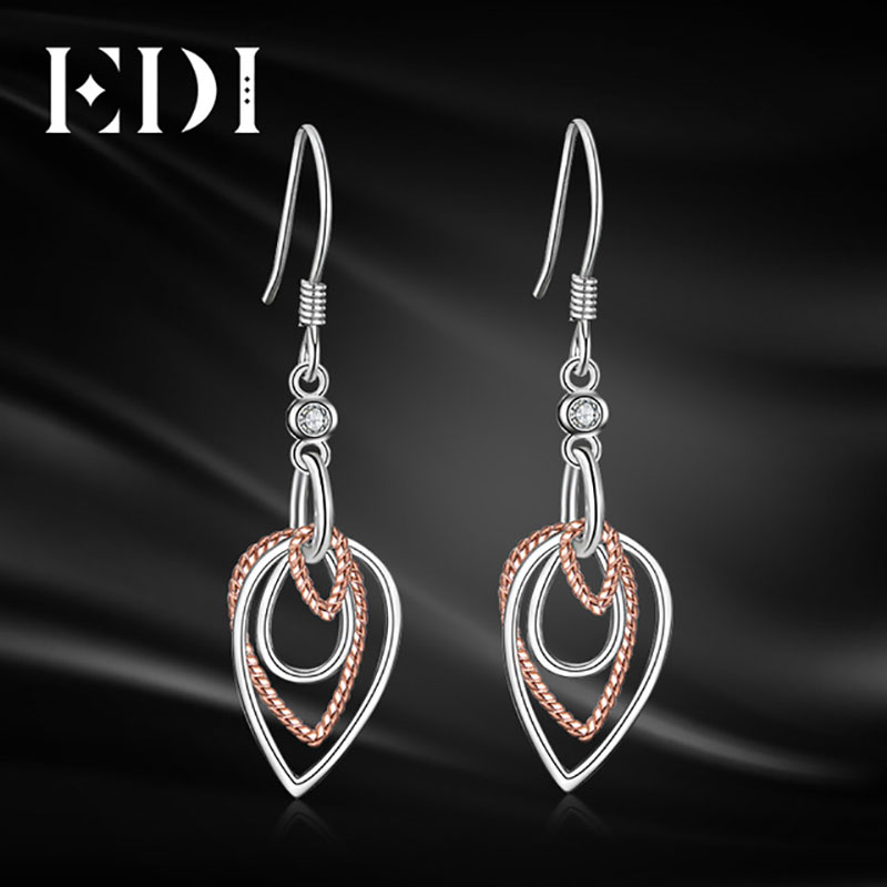 EDI Trendy 925 Sterling Silver Leaf Tassels Drop Earrings Forever Brilliant Stone Engagement Earring For Women Fine Jewelry Gift pair of trendy rhinestone oval leaf earrings for women page 7