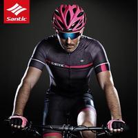 Santic Men Cycling Jersey Short Sleeve Pro-Fit Breathable Fast Dry UV-proof Antislip Sleeve Cuff Road Bike MTB Short Sleeve 2018