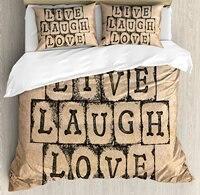 Live Laugh Love Decor Duvet Cover Set Black Alphabet Stamps on Aged Grungy Backdrop Vintage Print Decorative 4 Piece Bedding Set