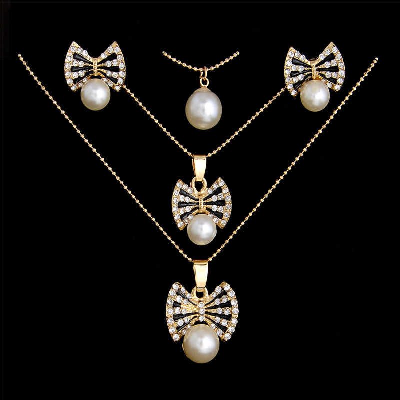 Princess Mutillayer Imitation Pearl Jewelry Sets Crystal Bow Jewelry Sets Earrings Necklace Fashion Jewelry Set