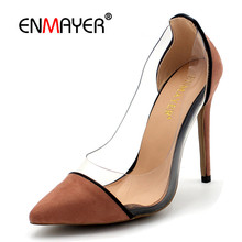 ENMAYER New Clear Shoes Woman High Heels Shallow Summer Pumps Plus Size 34-43 Black Pink Blue Womens Thin Slip-on