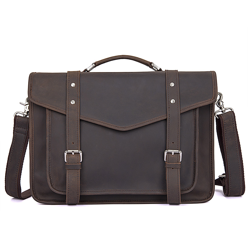 Crazy Horse Leather Business Travel Briefcase Bags Men Vintage Large 14 Laptop Handbags Brand Crossbody Casual Big ShoulderBag Crazy Horse Leather Business Travel Briefcase Bags Men Vintage Large 14 Laptop Handbags Brand Crossbody Casual Big ShoulderBag