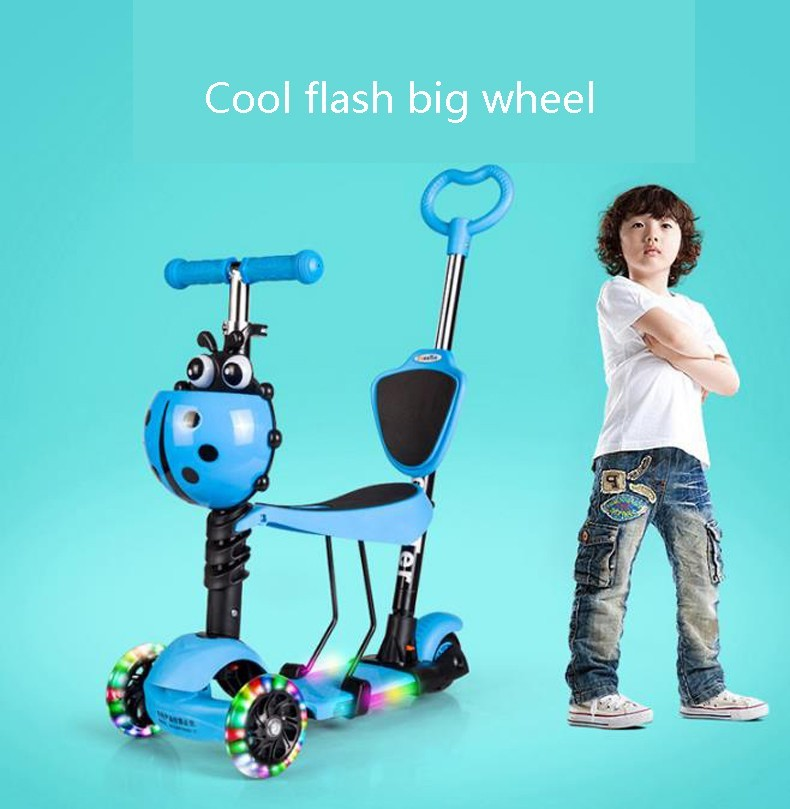 VAVIS TOVEY Children's scooter Three in one / three wheel Sliding pedal car 3 to 6-year-old baby outdoor toys/tb220801/01 three wheel with two seater twin dolls kang pedal three wheeled cart with awning four in one function