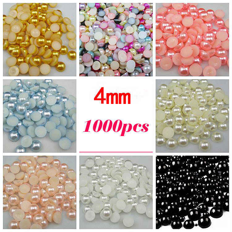 Free Shipping Many Colors 4mm 1000Pcs Craft ABS Imitation Pearls Half Round Flatback Pearls Resin Scrapbook Beads Decorate Diy