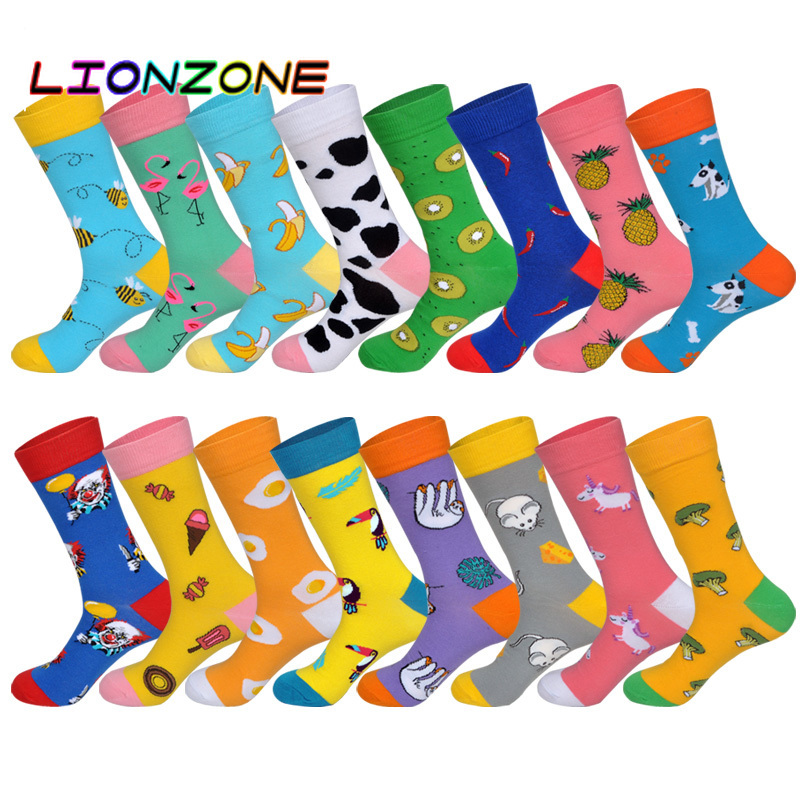 LIONZONE Autumn Winter New Men&Women Couples Tide Socks Long Tube Cotton Cartoon Animals Fruit Jacquard Happy US8-12