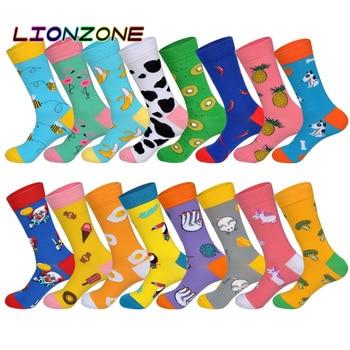 LIONZONE Autumn Winter New Men&Women Couples Tide Socks Long Tube Cotton Socks Cartoon Animals Fruit Jacquard Happy Socks US8-12 us8 12 l33