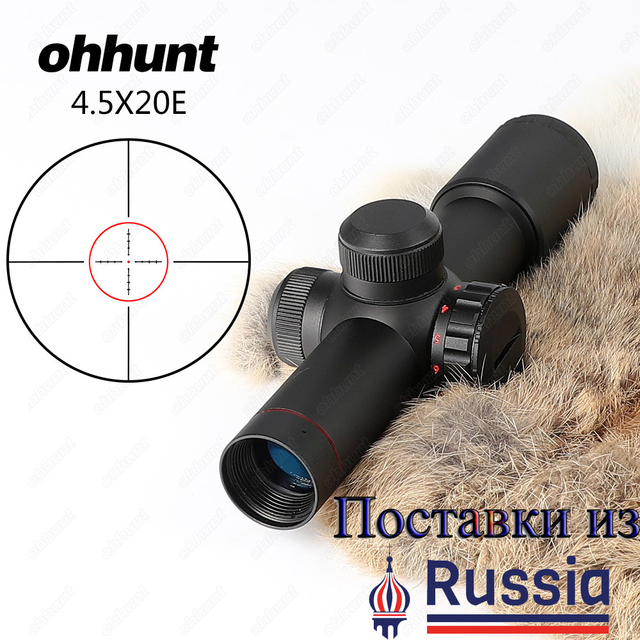 Ohhunt 4.5x20E Compact Hunting Rifle Scope Red Illuminated With Flip-open Lens Caps and Rings  Glass Etched Reticle Riflescope