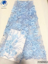 Beautifical 3d lace applique blue fabric nigerian fabrics for wedding dress 2018 latest flowers style 5yards/lot 35N06
