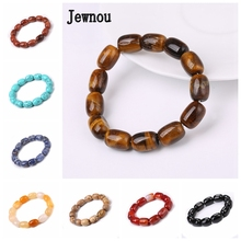 Jewnou Tiger Eye Natural Stone Bracelet Crystal Bead Chain Women Charm Jewelry Men Fashion Personality Amulet Vintage Gift