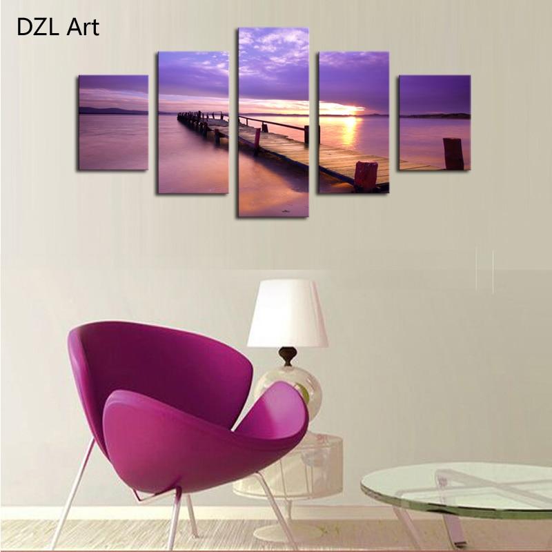Muur Plank Voor Schilderijen.5 Panelen Geen Frame Plank Zee Foto Moderne Muur Decor Canvas